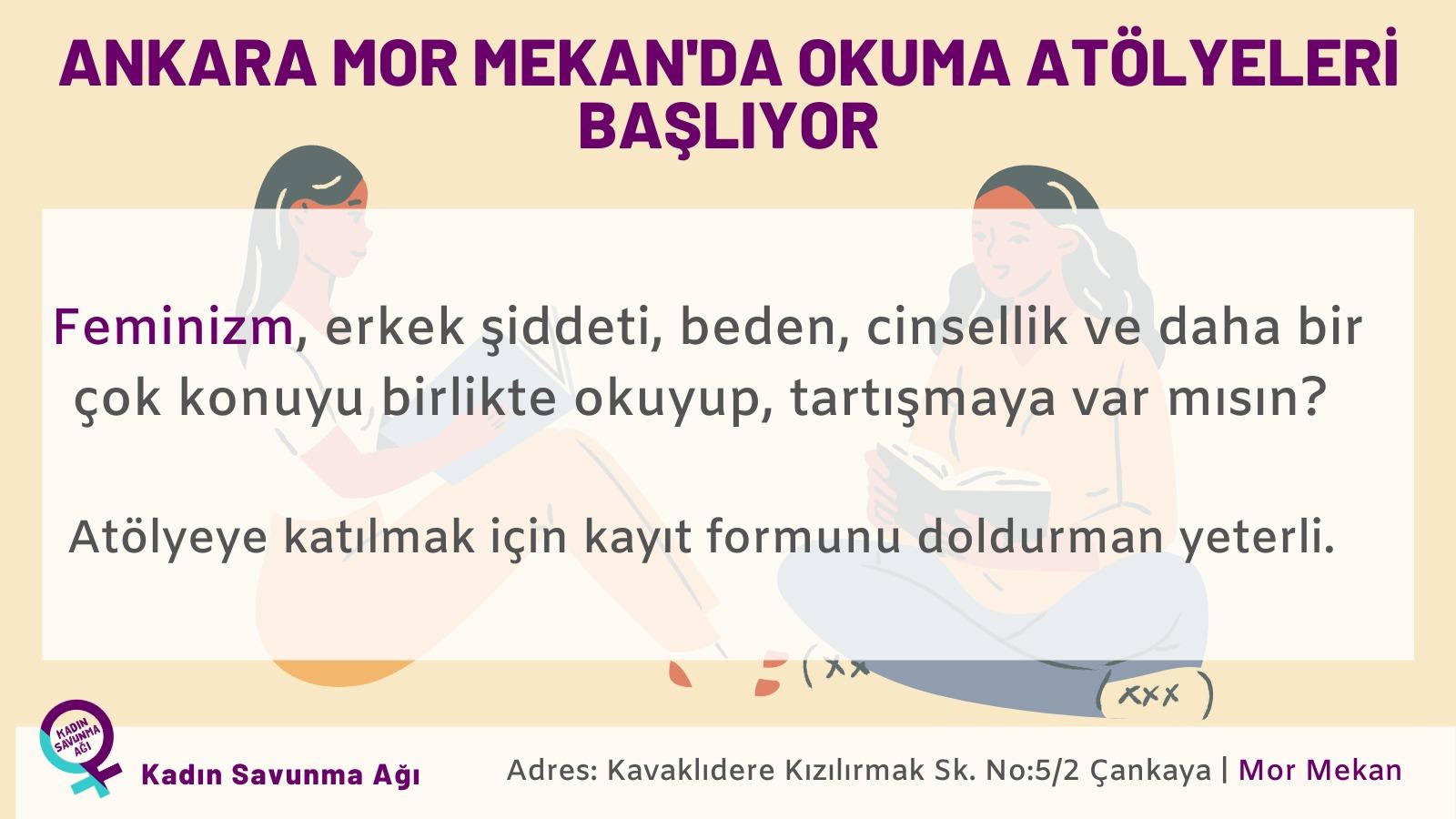 Ankara Mor Mekan'da okuma atölyeleri başlıyor