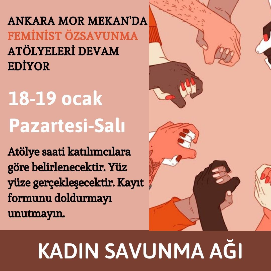 Ankara Mor Mekan'da feminist özsavunma atölyesi 18-19 Ocak'da