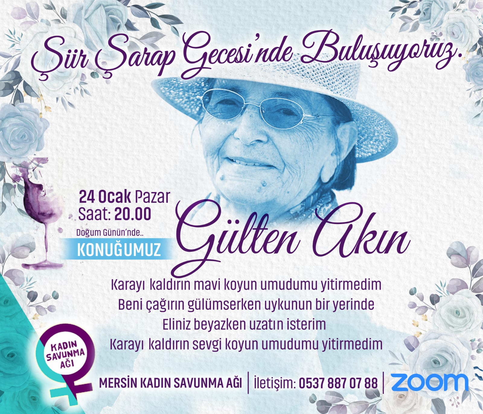 Mersin Kadın Savunması Şiir-Şarap Gecesi'ne devam ediyor, konuk: Gülten Akın